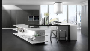 White High Glossy UV Kitchen Cabinet (FY7543) pictures & photos