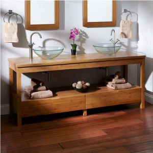 Modern Carbonized Solid Bamboo Bathroom Cabinet pictures & photos