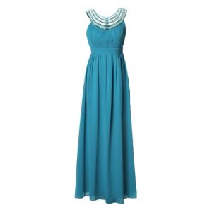 Elegant Evening Dress with Biesenfalten on The Front Yoke, Made From 100%Polyester