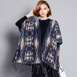 Women Fashion Viscose Acrylic Knitted Winter Fringe Shawl (YKY4527) pictures & photos