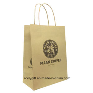 Natural Brown Logo Printing Kraft Carrier Gift Bag with Twisted Handle pictures & photos