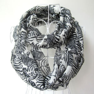 Women Fashion Zebra Stripes Printed Polyester Voile Infinity Scarf (YKY1098) pictures & photos