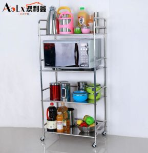 China Stainless Steel Four Tier Microwave Oven Shelf Rack With