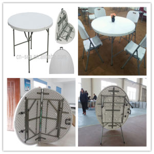 4ft High Quality Blow Mold HDPE Plastic Wholesale Promotional Cheap Round  Folding In Half Table (