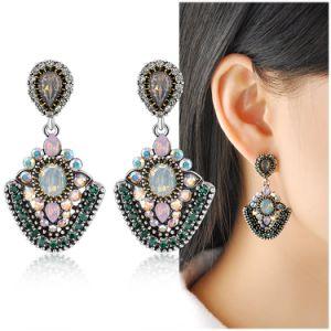 Luxury India Style Gemstone Crystal Lady Jewelry Earring