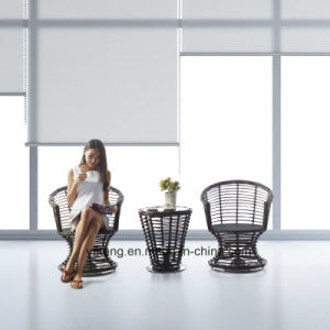 Top Quality Comfortable PE Rattan Wicker Hotel Furniture Rotatable Chair  With Coffee Table Set (