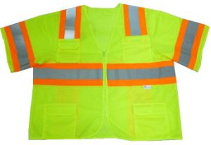 Safety Vest with Short Sleeves with Four Patch Pockets pictures & photos