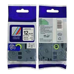 2 x Brother Compatible TZ231 P-Touch 12mm Gloss Laminated Tape Black//White
