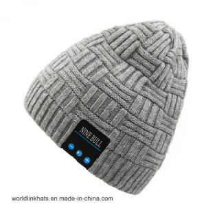 China New Design Leather Patch Beanie Knitted Cap Fashionable Winter ... 96654239c23