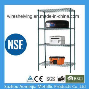 4 Tier Heavy Duty Green Wire Rack for Store Use with NSF Approved