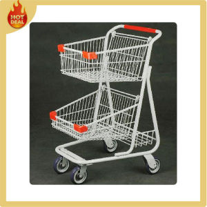 Metal Double Basket Shopping Cart for Supermarket pictures & photos
