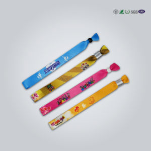 Plastic Lock Polyester Textile Woven Festival Event Custom Cloth Wristband