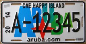 Aruba Car License Plate / Number Plate / Vehicle Plate