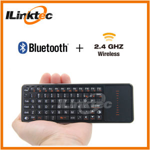 Two Side Bluetooth and 2.4G RF Keyboard with Touchpad and IR