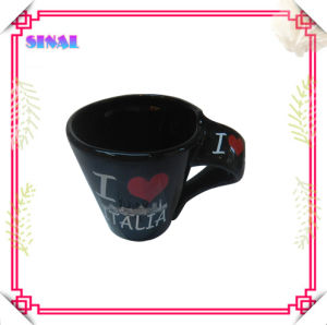 Souvenir Gift, Ceramic Black Decal Mug, Promotional Coffee Cup