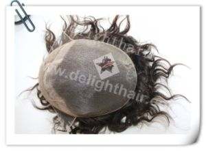 Top Quality Human Hair Full Swiss Lace Men′s Toupee Nhtp007