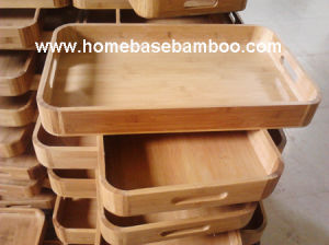 Bamboo Tea Food Coffee Fruit Serving Tray Tableware Storage Organizer Hb414 pictures & photos