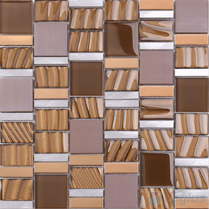 Magic Stream Gold Foiled Brown Mosaic Wall Tile