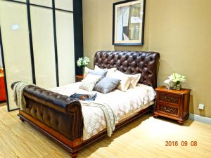 Top Oil Wax Leather Bedroom Furniture pictures & photos