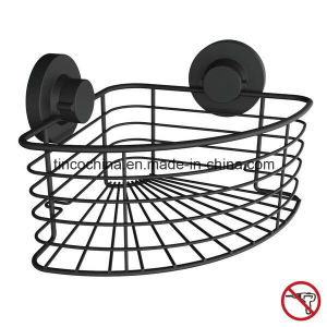 Super Vacuum Suction Cup Corner Storage Basket, Matt Black