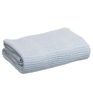 Light Blue 100% Cotton Cellular Portable Thermal Blanket