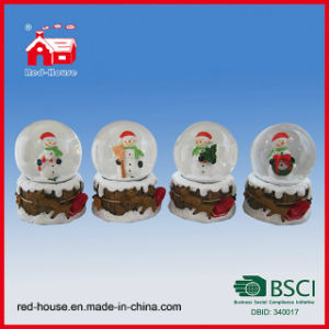 Souvinir Snow Globe Snowman Round Water Globe with LED Lights