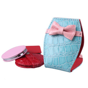2015 Hot & Popular Leather Makeup Mirror with Bowknot pictures & photos