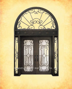 Double Front Entry Wrought Iron Door With Transom U0026 Sidelights