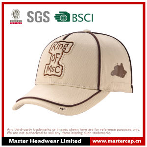 Cotton Embroidery Logo Fitted Stretch Cap with Piping