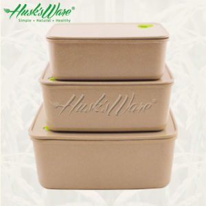 China Rice Husk Air Tight Rectangular Food Storage Container Set