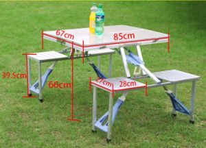 Portable Folding Outdoor Camp Suitcase Picnic Table W 4 Seats