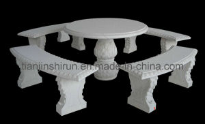 White Marble Table and Bench Set (XF-4369)