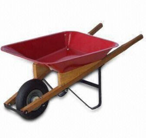 Wheelbarrow with Steel Tray and Wooden Handles,