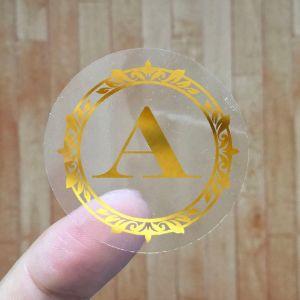 Custom Gold Foil Stamping Labels Printing Roll Logo Vinyl Transparent  Stickers