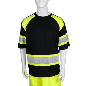 Men′s High Vis Class 2 Safety T Shirt ANSI Reflective Work Short Sleeve Jacket with Black Bottom