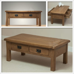 China Solid Oak Coffee Table With Drawers Wooden