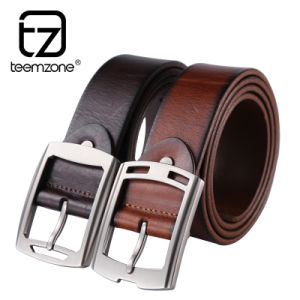 Man′s Genuine Leather Belt with Quadrate Buckle