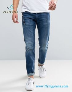 Navy Blue Zip Decorated Leisure Denim Men Jeans pictures & photos