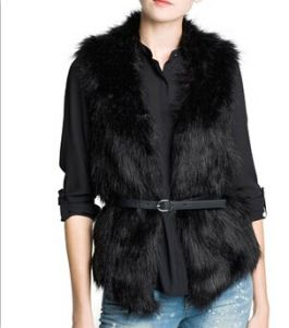 New Fashion Winter Womens Temperament Faux Fur Vest Jacket Outerwear Knitted Patchwork Waistcoat with Belt 53294