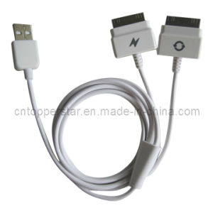 Dual Splitter Charger Sync & Data USB Cable for iPhone