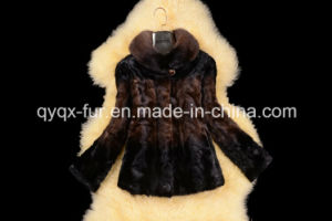 2015 Hot Selling Women′s 100% Mink Fur Coat Gradient Color