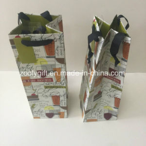 Glitter Wine Bottle Paper Carrier Bag UV Printing Gift Paper Wine Bag pictures & photos
