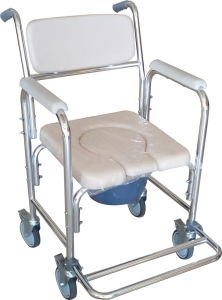 Aluminum Fixed Commode Chair with Wheels pictures & photos