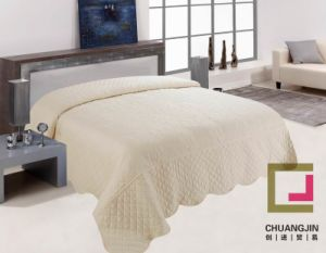 Embroider Quilt Bedcover Solid Color