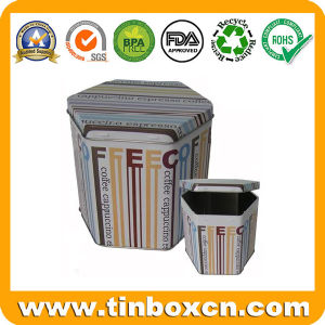 Hexagon Coffee Tin Box for Food Storage, Coffee Tin Container pictures & photos