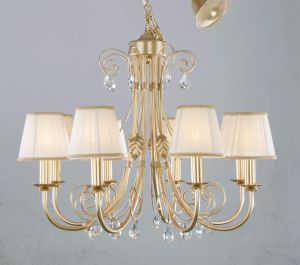 Custom Made Golden Finishing Fabric Shade Crystal Chandelier for Lobby