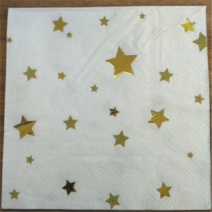 Golden Star Party Paper Napkins, Fold Paper Napkin pictures & photos