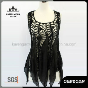 Lady′s Sleeveless Handknited Slip Chiffon Dress pictures & photos