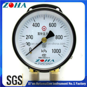 Double Pointer Double Pipe Pressure Gauge with Double Connector pictures & photos
