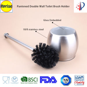 Patented Double Wall Stainless Steel Glass Floor Toilet Brush Holder, Toilet Bowl Brush Stand